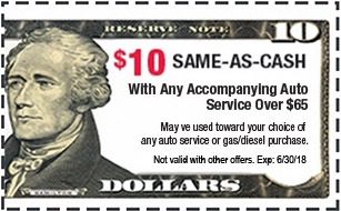 $10 Same-As-Cash with any accompanying Auto Service over $65