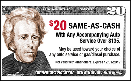 $20 Same-As-Cash with any accompanying Auto Service over $135