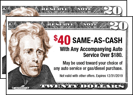$40 Same-As-Cash with any accompanying Auto Service over $180