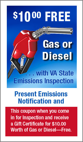 $10 Free Gas or Diesel with VA State Inspection & Emissions