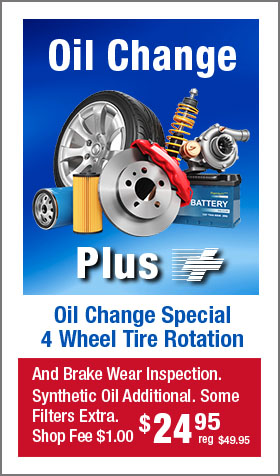 Oil Change Plus Special + 4 Wheel Tire Rotation -- $24.95