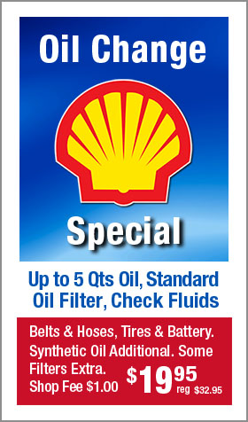 Oil Change Special, Check Fluids $19.95