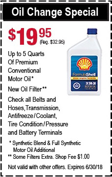 Oil Change Special - $19.95 Up to 5 Quarts of Premium and fluids.