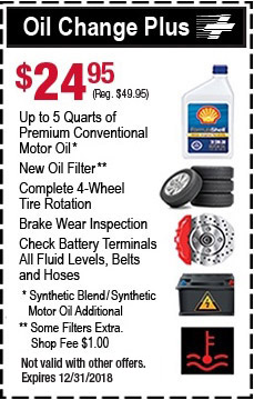 Oil Change Plus - $24.95 Up to 5 Quarts of Premium, Fluids, Tire Rotation and Brake Checks.