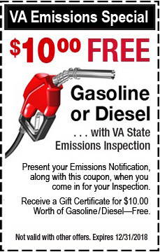 VA Emissions Special - $10 Free Gas or Diesel with a VA State Inspection
