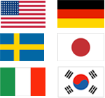 USA, Germany, Sweden, Japan, Italy, Korean Flags