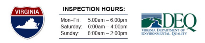Virginia State Inspection Hours Mon-Fri: 6am-8pm, Sat 6am-4pm, Sun 8am-2pm. Virginia DEQ Logo